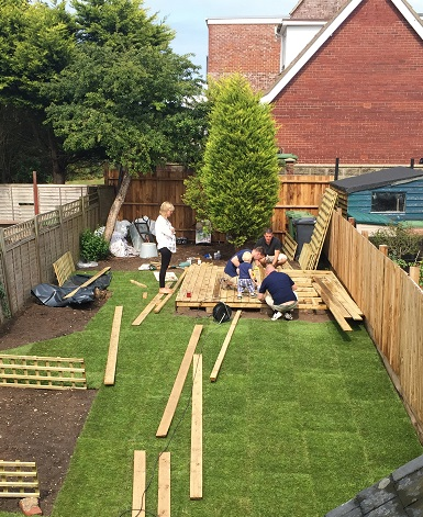 and more helpers, to put together our lovely decked area....